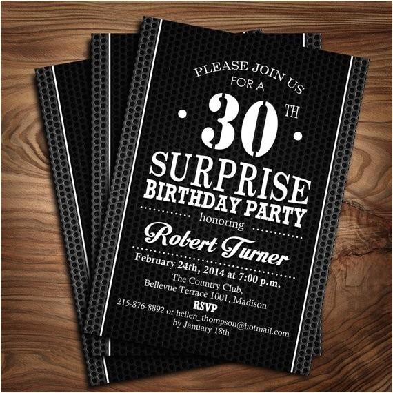 surprise adult birthday party invitation