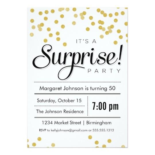 confetti surprise party invitation 161037044129930815