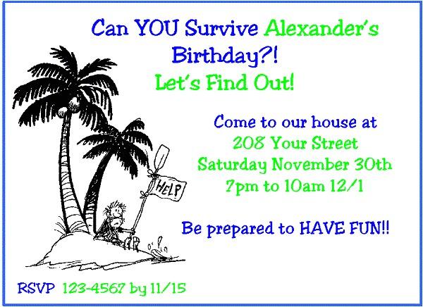 survivor birthday party invitations ideas