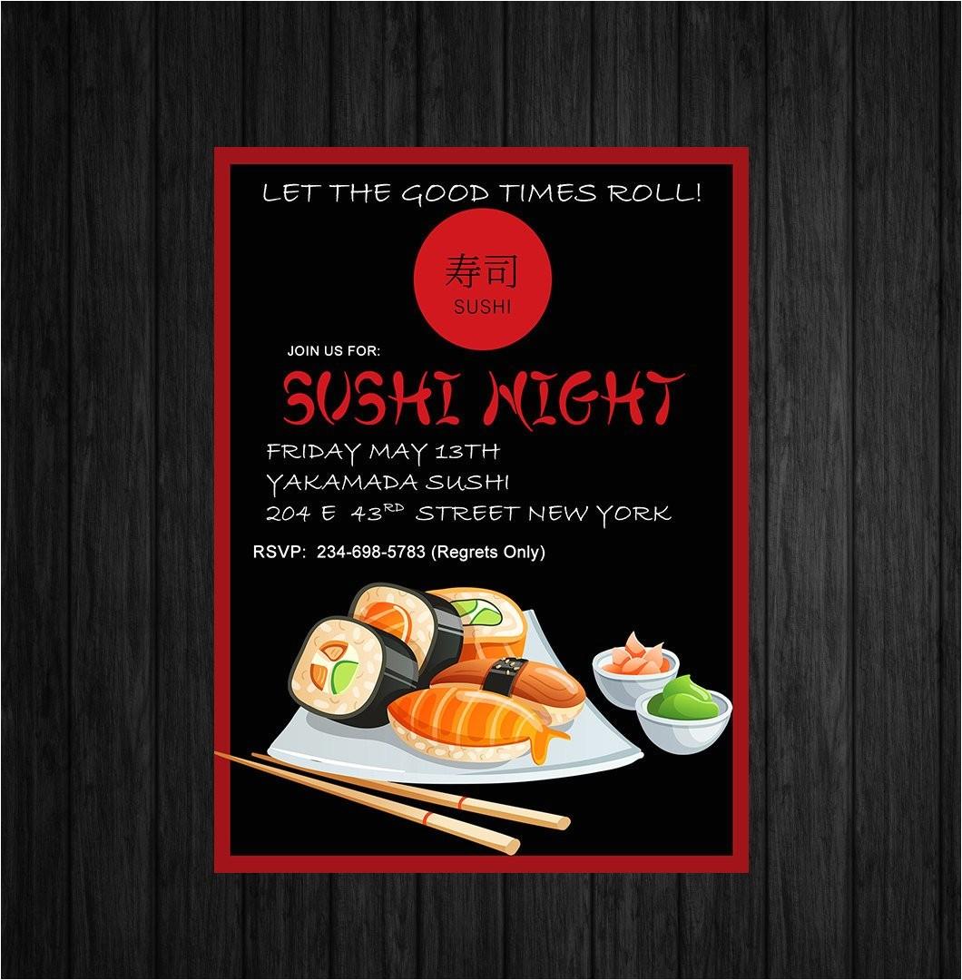 sushi night invitecustom printable asian