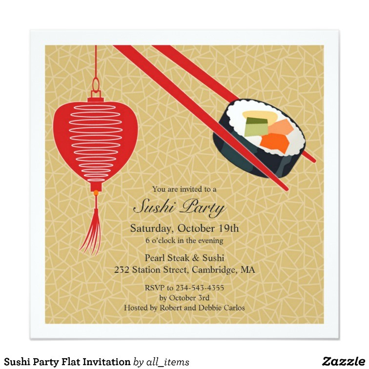 sushi party flat invitation 161070194968162104