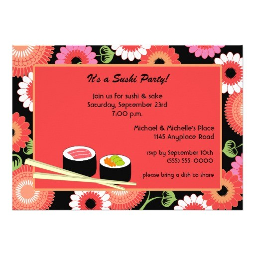 sushi party invitation 161278570515245893