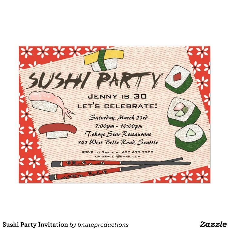 sushi party invitation 161499785887032850