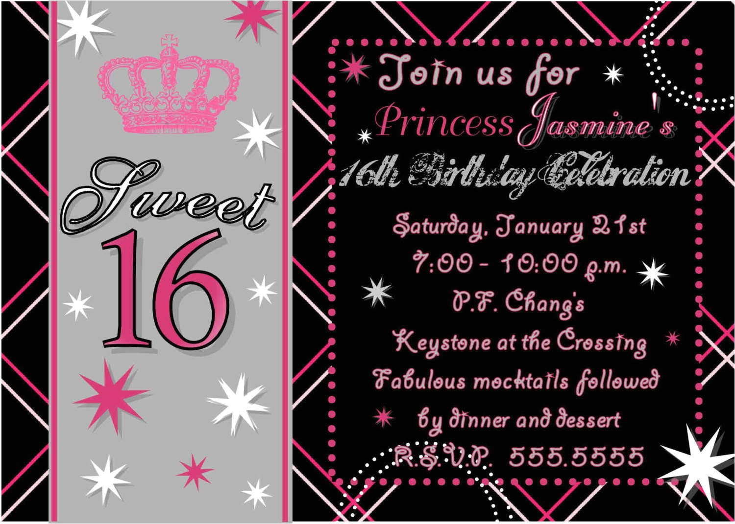 best sweet 16 party invitaions sample design