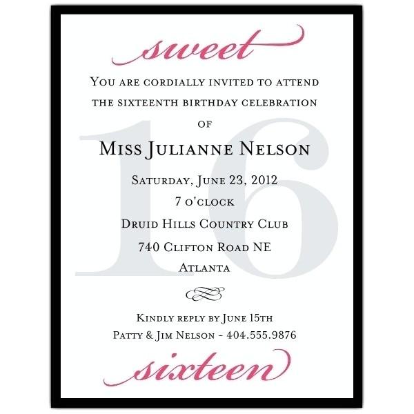 sweet sixteen invitation wording template