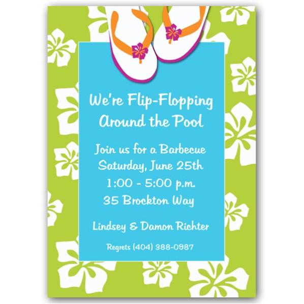 beach flip flops pool party invitations p 609 57 072