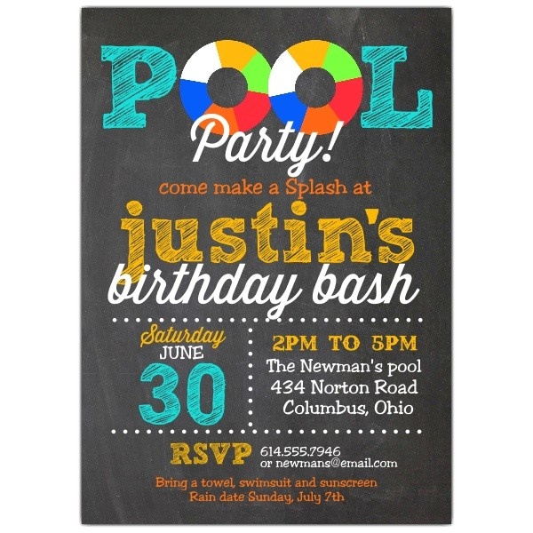 pool party chalk invitations p 605 57 ps477