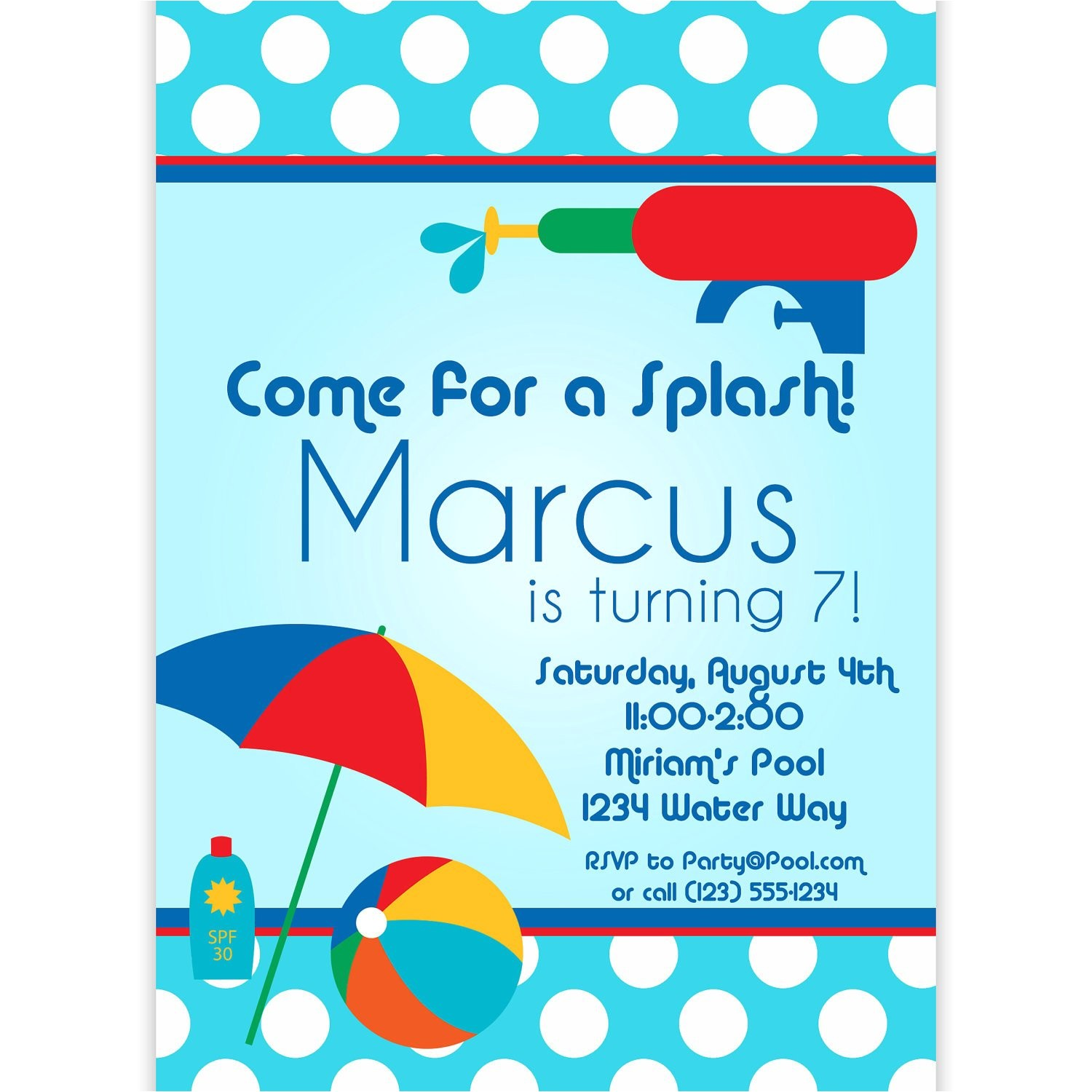 Swim Party Invites Pool Party Invitation Blue Polka Dots and Red Water Squirt