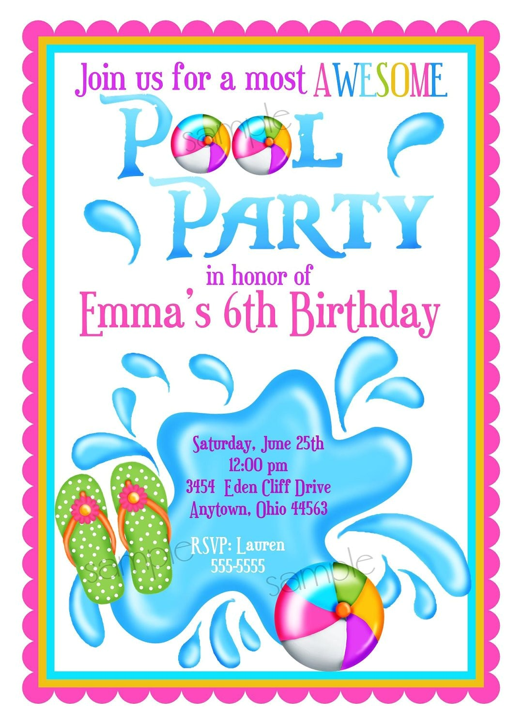 Swim Party Invites Pool Party Invitations Personalized Invitations Girl