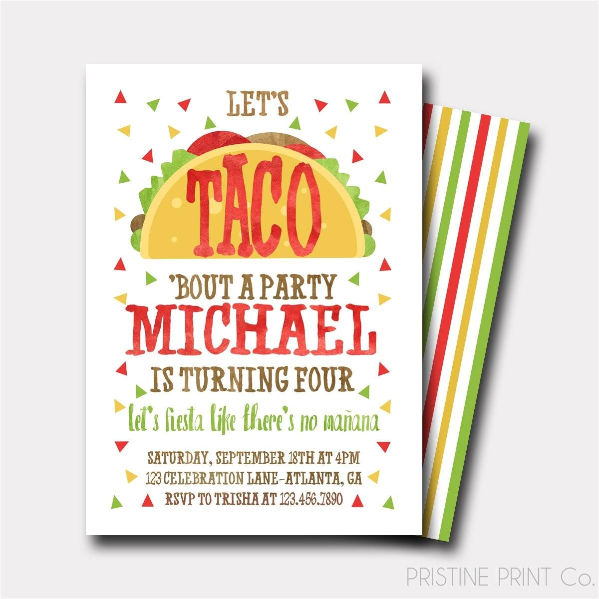 Taco Bout A Party Invitation Taco Birthday Invitation Fiesta Birthday Invitation Fiesta