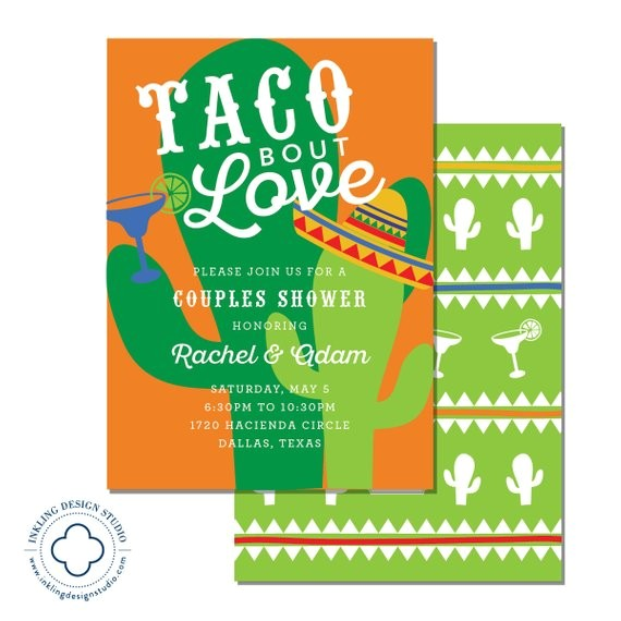 taco bout love invitation wedding party