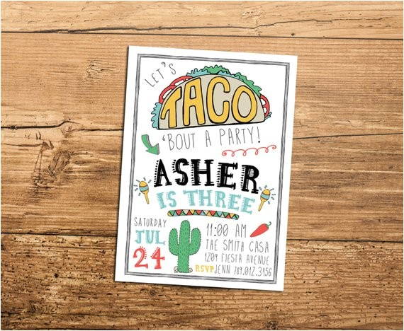 taco fiesta birthday party invitation