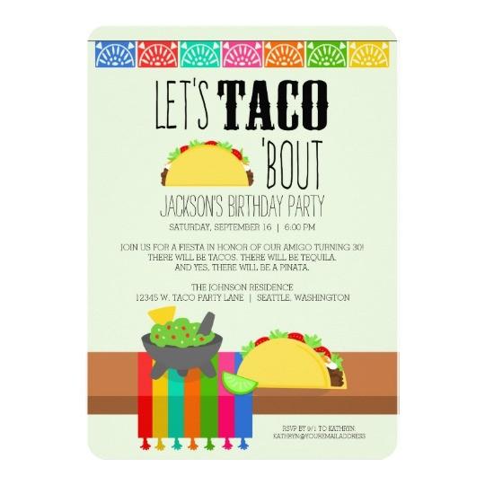 colourful taco birthday party 13 cm x 18 cm invitation card 256118410089941326
