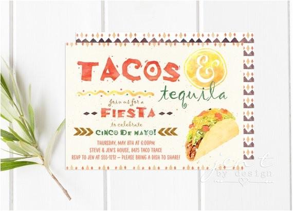 taco tequila invitations cinco de mayo