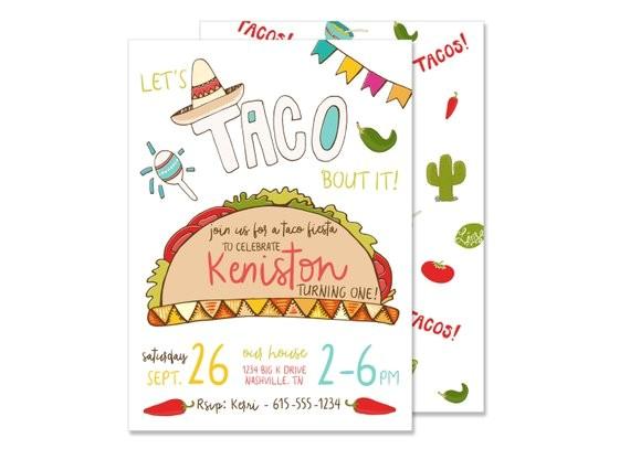 taco fiesta birthday invitation printed mexican