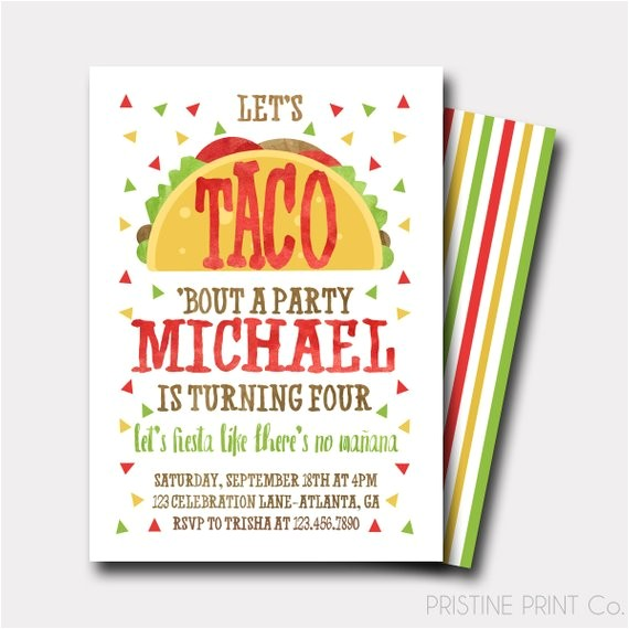 taco birthday invitation fiesta birthday