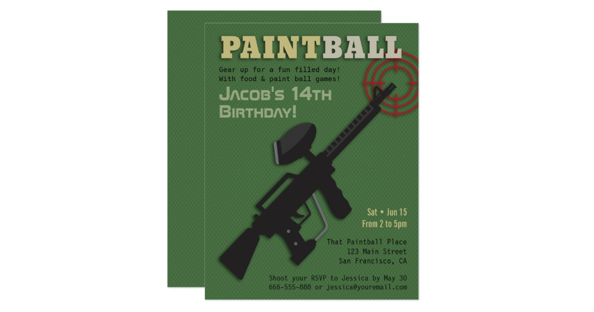 target paintball birthday party invitations 256123912592387427