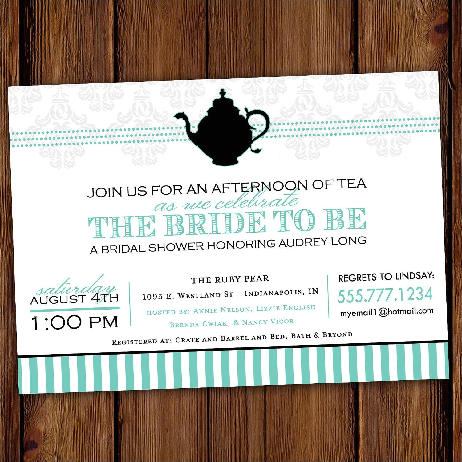 bridal shower tea party invitations etsy