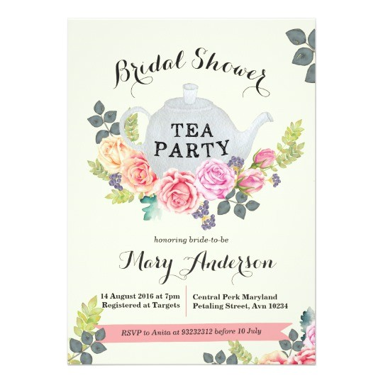 floral tea party bridal shower invitation 256000774247442817