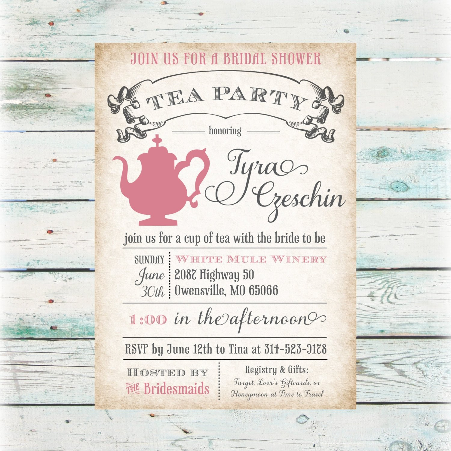 tea party bridal shower invitation diy