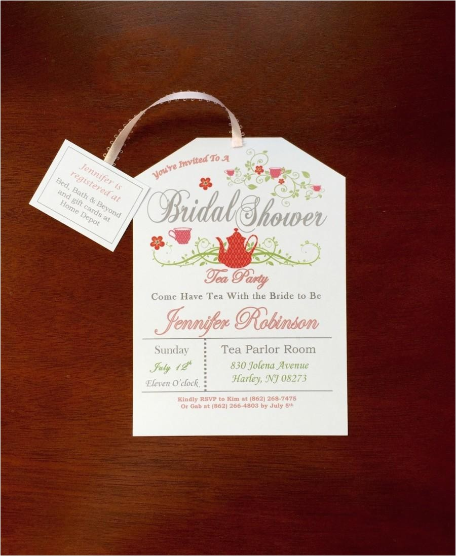 tea party bridal shower invitation style2