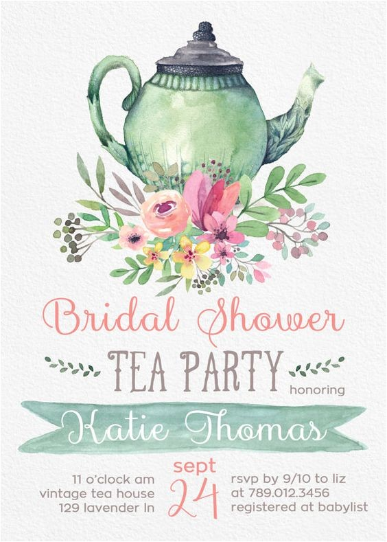 tea party bridal shower invitation templates