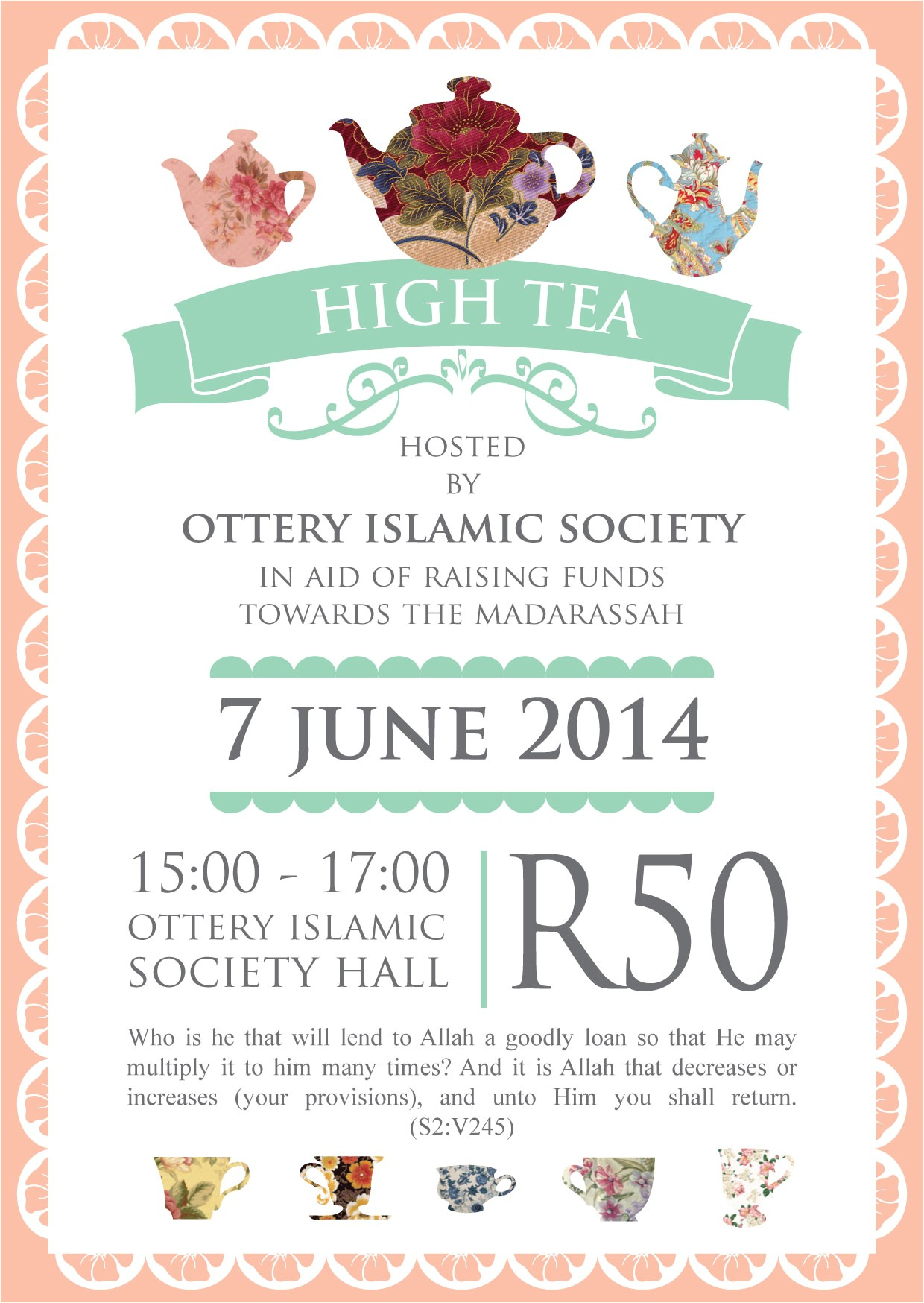 print work high tea invitation