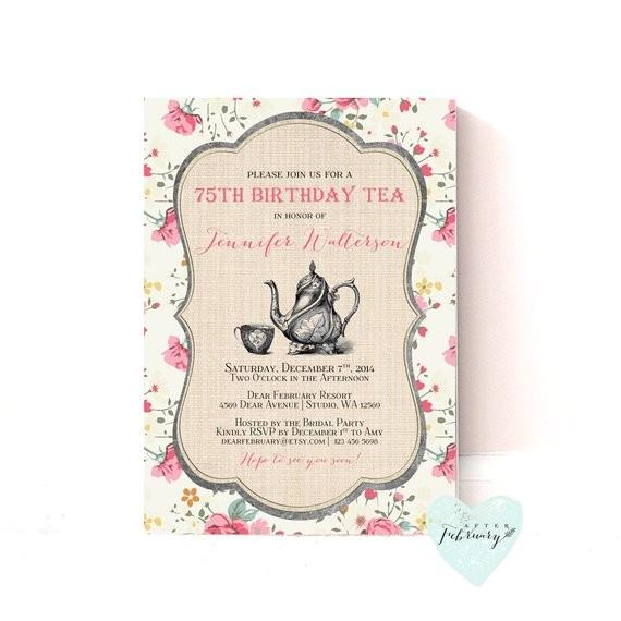 adult birthday tea party invitation