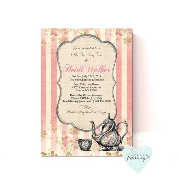 birthday tea party invitation adult girl
