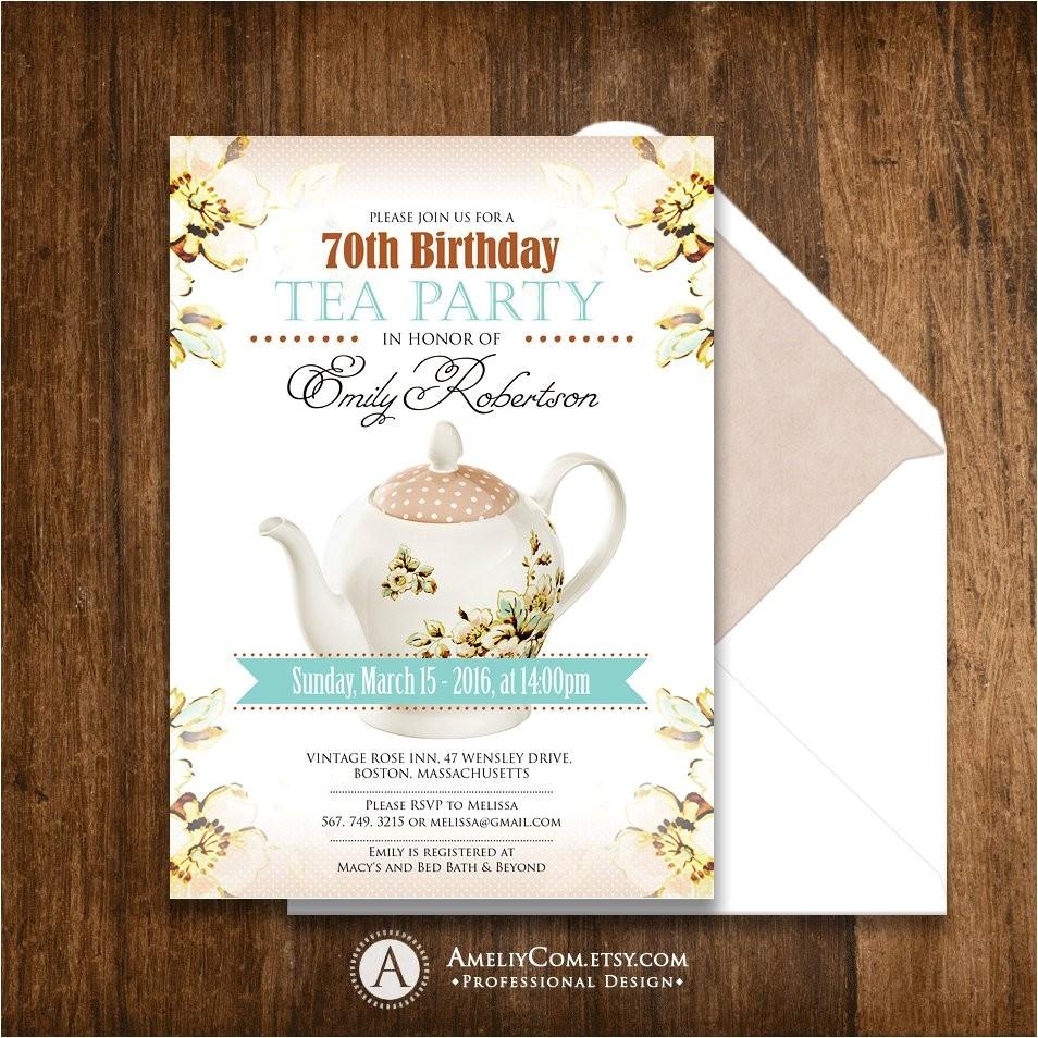 adult birthday invitation tea party girl