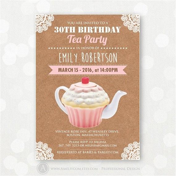 tea party birthday invitation adult