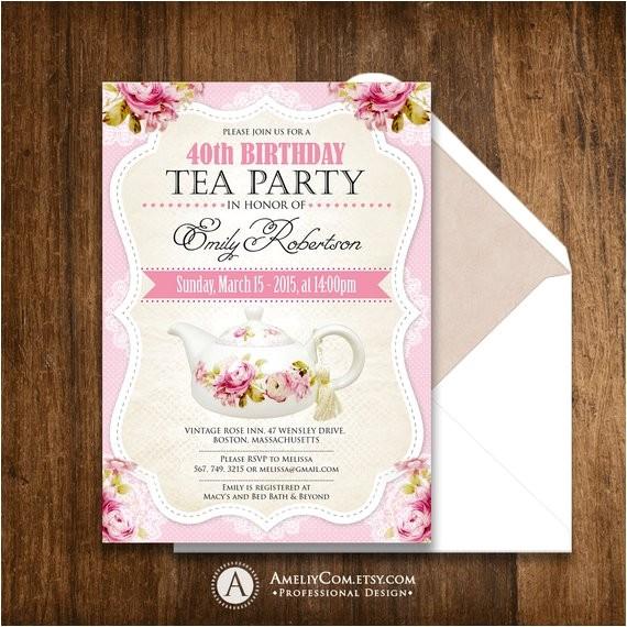 tea party birthday invitation printable