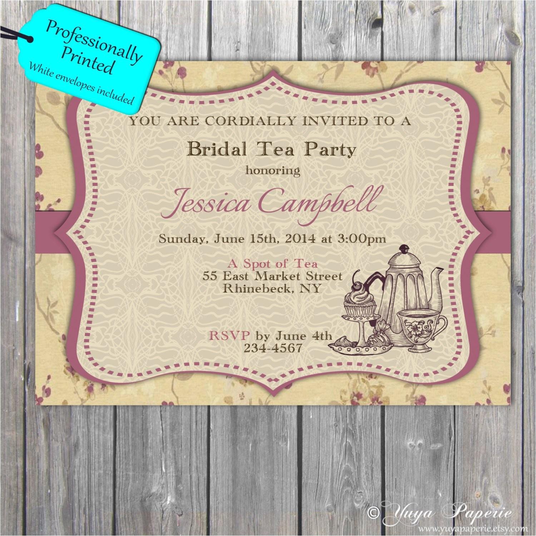 vintage bridal shower invitation tea