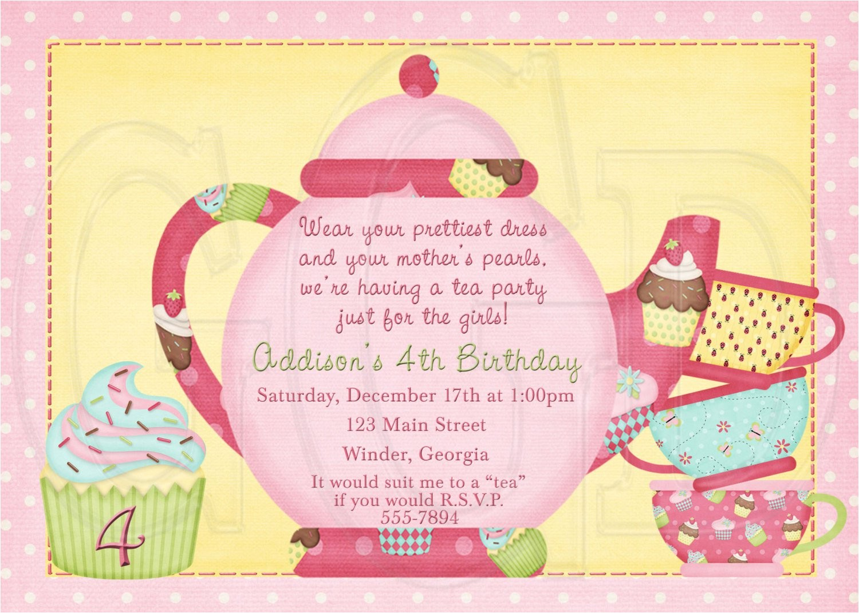 tea party birthday invitation wording