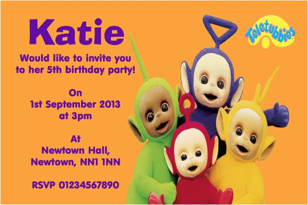 teletubbies childrens birthday party invitations 7129 p