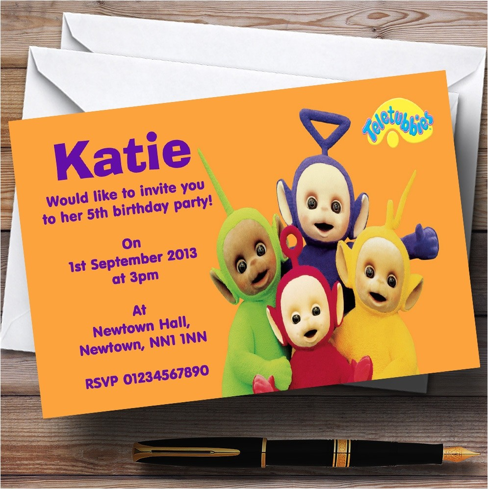 teletubbies personalised childrens birthday party invitations