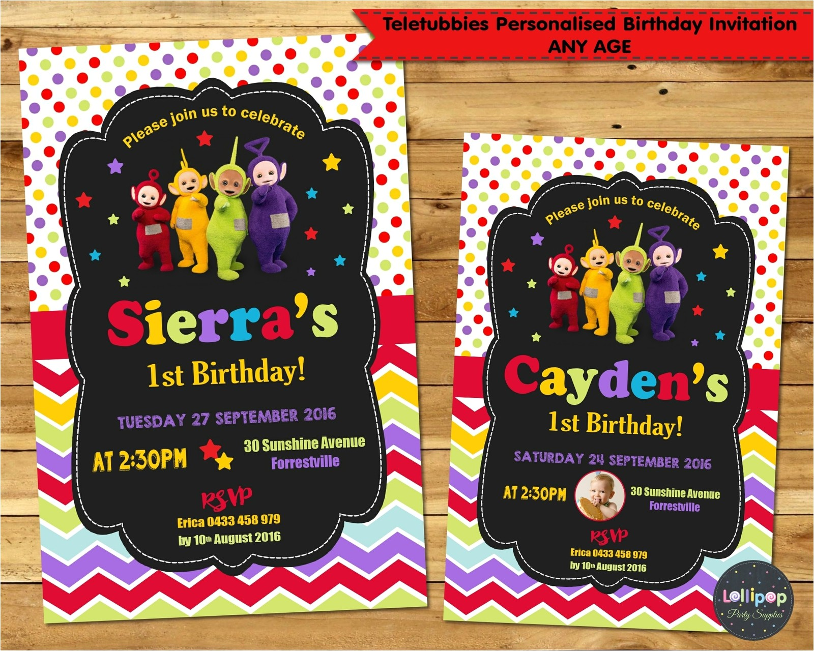 teletubbies personalised invitation