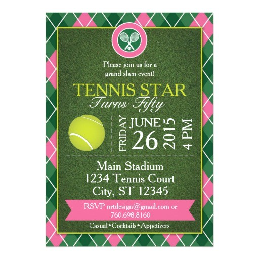 grand slam tennis party invitation grn pink 5x7 256015422419328982