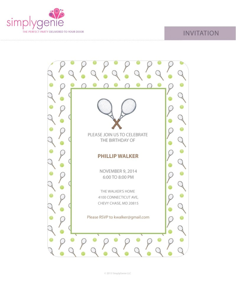 tennis birthday party invitations