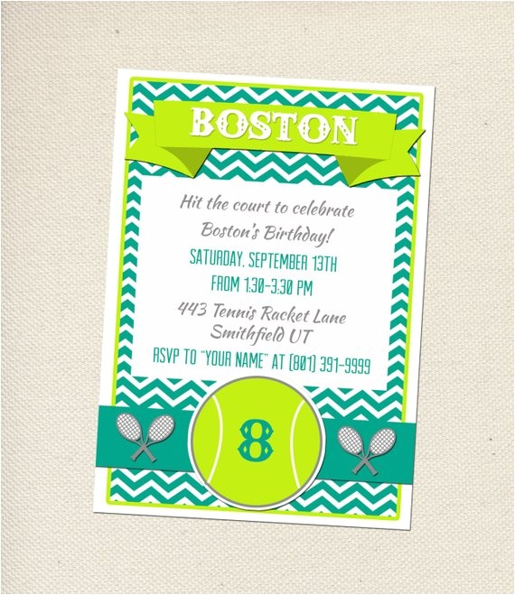 tennis party invitation customizable you