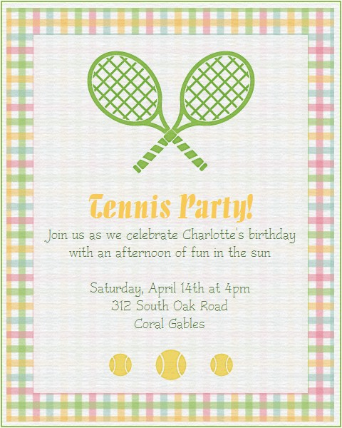 tennis party invitations