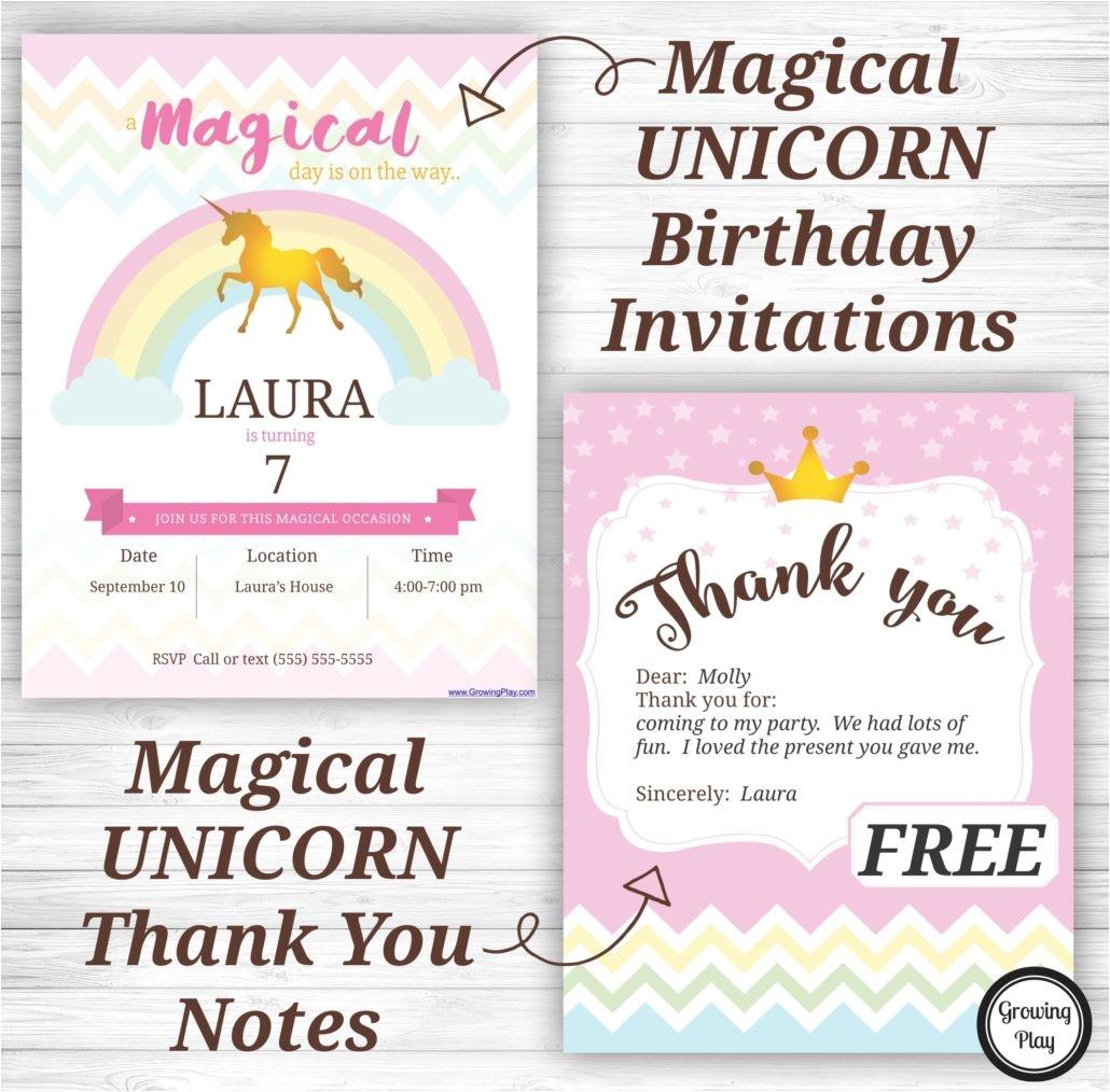 unicorn birthday invitations thank notes free