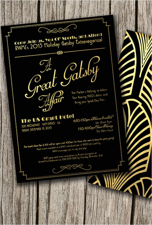 great gatsby themed party invitations