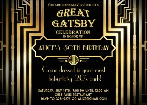great gatsby party invitations ideas printable