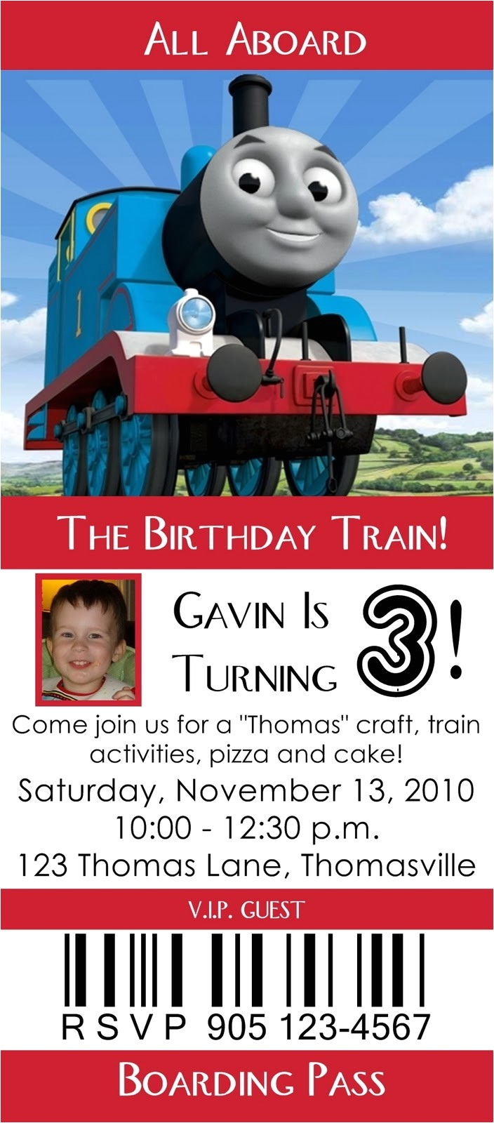 thomas the engine invitation editable
