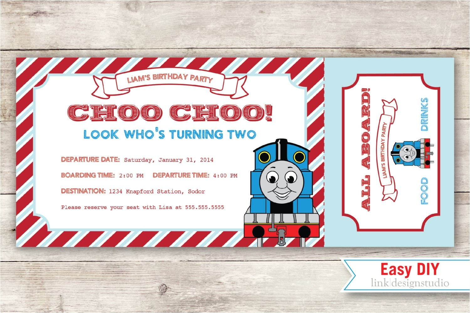 Thomas the Tank Engine Party Invitations Thomas the Tank Engine Birthday Invitation by Linkdesignstudio
