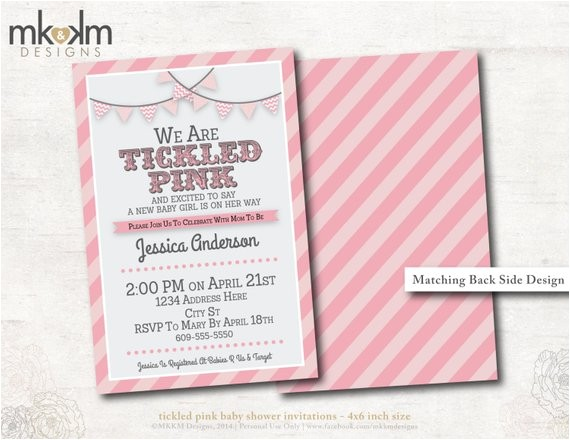baby shower invitation tickled pink baby