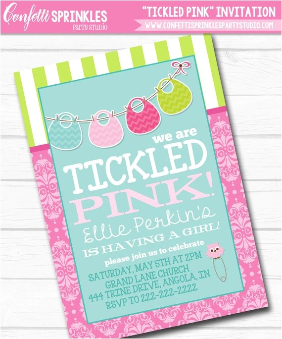 personalized tickled pink onesie bib girls