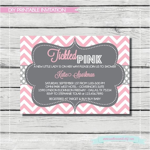 tickled pink baby girl shower invitation