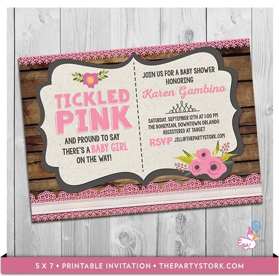 tickled pink baby shower invitation printable